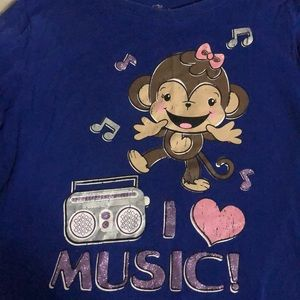 Children's Place Blue Music Monkey Shirt